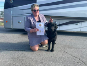 Julie also finished one of Karen's dogs, Millie, CH Paradocs Vermillion. Not only did Millie finish her championship, but she also won a Sporting Group 4 placement, which is great. Congratulations to Karen, Julie, and Millie.