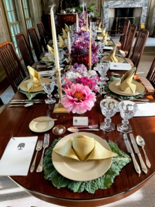 Every place is set with a personal menu and place card. When setting a table, also be sure there is nothing obstructing guests' views. For this dinner I chose Drabware plates atop fun cabbage placemats, and tan napkins. If using cloth napkins or tablecloths, be sure to iron them in advance.