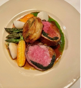 Then, we had the lamb with roasted vegetables and Pomme Anna. Everyone loved dinner and everything was devoured - no leftovers at all.