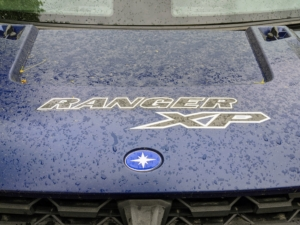 Here, one can see the dust that has accumulated on the front hood.