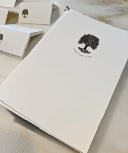 Whenever I host dinner parties, I always include a menu for each guest – it is a personal detail that is very important to me. The card stock is printed with the symbol of my farm – this great sycamore tree of Cantitoe Corners.