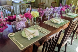 In my Winter House, everything is ready for breakfast. The table arrangements were so beautiful the night before, we used them for breakfast. The table was set with lovely green celadon colored plates and crisp white napkins.