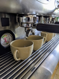Cups are ready for cappuccino.