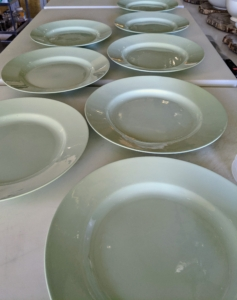 Everything is timed to perfection, so the meal is served perfectly. Here are the plates all lined up on the counter.