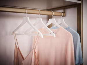 Sturdy hangers organize a full wardrobe while protecting the shape and quality of the clothing. Special hanger indents keep those delicates from falling to the floor. (Photo by Douglas Friedman)