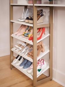 And look at all the room for shoes on these slanted open shoe shelves – every pair is visible and easy to access. (Photo by Douglas Friedman)
