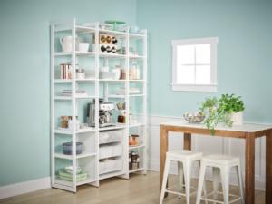 This clean and easily-accessible design caters to visibility and function for kitchen pantry storage. Each 14-inch or 20-inch shelf can fit various appliances including food processors and microwaves. (Photo by Douglas Friedman)