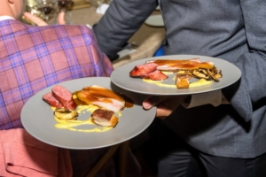 This is the Third Course - Blue Hill Farm Pork with eight row flint corn polenta and Donko shiitake. (Photo by Gabe Palacio for Caramoor)
