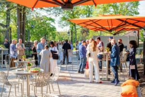 Guests were directed to the Pavilion Patio where they could mingle and enjoy refreshments and hors d'oeuvres. The evening was so pleasant - perfect for a safe outdoor gathering. (Photo by Gabe Palacio for Caramoor)