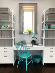 """These components can change, and improve everyday living. They feature a modern palette of wood and metal finishes that can fit in every home. The shelves are also outfitted with supplies from my Office Collection at Staples. I love """"The Everyday System"""" - it's modern, modular, and moveable."""