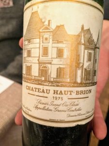 And here is the label of the 1975 Chateau Haut Brion. Front wine labels indicate the winery name, grape variety and origin, the vintage year, and the alcohol content.