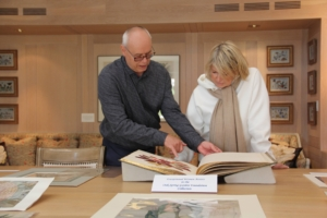 Here, OSGF Head Librarian, Tony Willis, shows me a selection of works from the Oak Spring collections by exceptional women artists. (Photo by Max Smith, Oak Spring Garden Foundation)