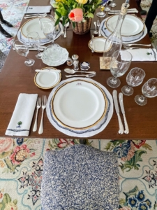 Paul Mellon was the son of Andrew Mellon, one of the longest-serving U.S. Treasury Secretaries. Here are Andrew's monogrammed place settings in the Dining Room. Embroidered linens were designed by Hubert de Givenchy.