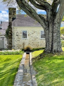 A burbling fountain extends from the wall of the Honey House and feeds a linear stream that cuts across a portion of the garden adjacent to the croquet lawn.
