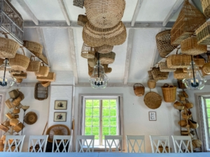 Here's an arrangement of baskets on the ceiling of the Mellon's Basket House. When Mrs. Mellon was alive, this room was a place for rest and relaxation. It is now used as a meeting and education space for visitors to the Oak Spring Garden Foundation who come to participate in workshops, short courses, and other programs.