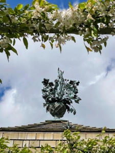 Back outside - a replica finial on top of the Formal Greenhouse. The original was designed by the Tiffany artist-jeweler Jean Schlumberger. Exposure to the elements and deterioration led to the original being taken down for conservation in 2018. It is now on display in the nearby Oak Spring Gallery.