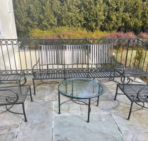 Back in early January, I spotted this set of metal outdoor furniture at a neighborhood estate sale. It was in excellent condition and I knew it would look great on my terrace at my Bedford, New York farm.