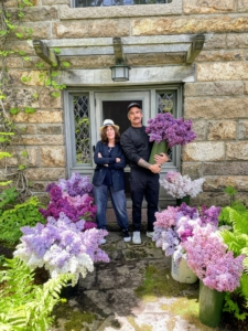 Here are my good friends, Hannah and Douglas, with all the lilacs cut and ready for Kevin to arrange - the fragrance of all these blooms is intoxicating.