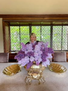 Every time I go up to Maine, Kevin Sharkey always creates the most gorgeous flower arrangements. Here I am behind a giant collection of lilacs from my garden. One of three beautiful and fragrant arrangements, and follow Kevin made on our first day up at Skylands.