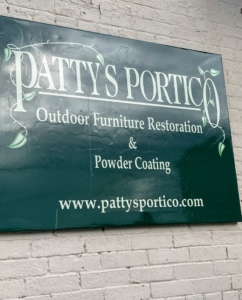 A few months later, I took the furniture to Patty's Portico: Outdoor Restoration & Powder Coating. Patty DeFelice started the business after working for her dad at his automotive repair shop. What started out as a short term job ended up to be a 30-year stay. During this time, she learned how to fix and paint cars. At one point, a customer asked if she could cover some furniture using automative paint, and in her search to find the safest and most effective methods, turned to powder coating. Patty attended seminars and studied the best ways to apply it and use it on all types of furniture. After 10 more years at her dad's automotive shop, she opened Patty's Portico.