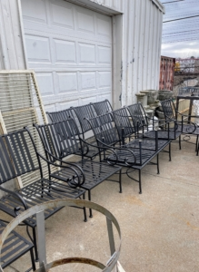 """The furniture I purchased was vintage mid-century modern in design. It would need stripping and priming before it would be ready to powder coat with my signature """"Bedford Gray."""" The entire job was expected to take several weeks."""