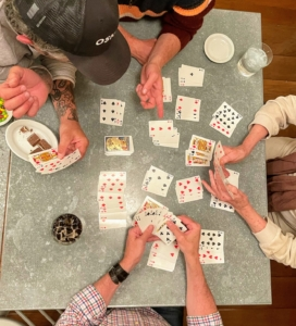 At night, we played competitive games of gozo - a card game similar to rummy.