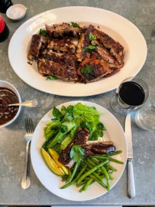 The ribs were served with a delicious green salad - with lettuce from my gardens. Everything was so delicious.
