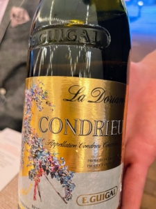 Here is a 2016 E. Guigal Condrieu La Doriane, paired with the Second course of This Morning's Farm Egg with morel mushrooms, green garlic, and new potatoes.