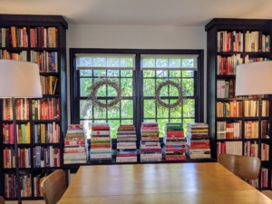Here is the new cookbook library after all the books were organized on the shelves by cuisine and then alphabetically by author.