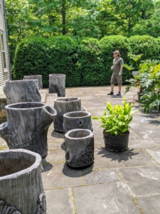I acquired eight of these gorgeous faux bois containers a few years ago. They will be potted up with big leaf philodendrons. Ryan assesses the pot sizes and decides where each specimen will be placed.