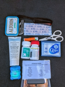 Aside from all the vital safety and roadside repair supplies every car should have, I also keep a few personal items I think are important. Everyone's list is different, but mine includes bandages, aspirin, dental floss, hand cream, lip balm, a comb, scissors, and breath fresheners.