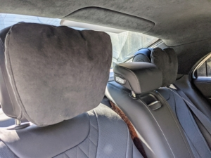 This Mercedes is also equipped with adjustable and padded safety headrests - three in the back and the two in front. This car provides wonderful comfort for all its riders.