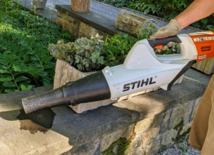 Finally, Ryan uses this battery powered blower from STIHL to clean the ledge of any dirt and soil. This blower is less noisy and perfect for around my Winter House.