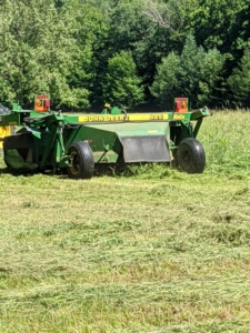When weather conditions are ideal, these machines allow farmers to cut wide and fast – the best formula for quality field productivity. My outdoor grounds crew foreman, Chhiring, goes over all the fields slowly and evenly with the mower-conditioner.