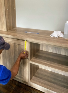 Shelving and cabinets are always measured and remeasured.