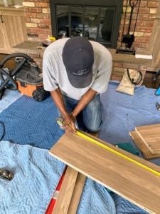 The installation takes several hours to complete. All the necessary pieces are brought into the space and neatly piled. Any adjustments are made right in the room, so everything fits perfectly.