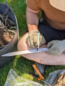 Ryan creates a marker as each dahlia is ready to go into the ground.