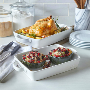 The two-piece set of La Marque 84 Stoneware Bakers from Sur La Table includes 2-quart and 3-quart options. The pieces are oven, microwave, freezer, and dishwasher-safe as well as stain and chip-resistant.