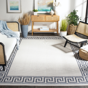 This Martha Stewart Greek Key Border Indoor/Outdoor Rug is exactly the piece to bring a touch of exotic excitement to any space. The neutral colors beautifully accentuate the linear pattern, making this rug an updated classic. The rug was produced in Turkey and made of enhanced Polypropylene Frize, a durable, easy-to-clean, yet nicely textured material with a .25 pile. The rug is available in six sizes — from a runner to a full 9' by 12'.