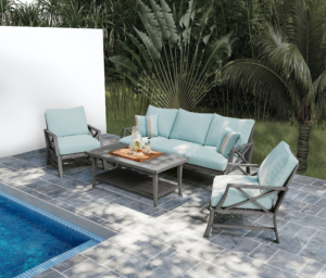 And here's my Martha Stewart Freehill Patio Set featuring a minimalist coffee table and stylishly modern club chairs and sofa. Each of the four pieces has a grey wood-look brushed aluminum frame and light blue cushions and throw pillows. The set comes with leveling feet on all components and features premium quality materials.