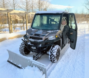 And in the dead of winter, we hook the plow onto one of our Polaris vehicles, so I can plow the four miles of carriage road around the farm.