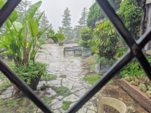 A brief rain shower kept one tour indoors for a short while. This is a view through the leaded windows looking out onto the terrace from the dining room.