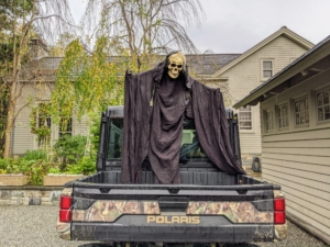 """We even used it for Halloween. Here's the back of a Polaris vehicle decorated for a Halloween episode of my television show, """"Martha Know Best."""""""