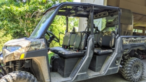 This Polaris is larger and can easily carry four to even six people. There is a lot of room in both the front and rear section, and is designed so everyone can get in and out easily and quickly.