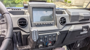 It is also well equipped with the Polaris Ride Command technology, featuring GPS mapping. Ample vents and controls provide heating and air-conditioning.