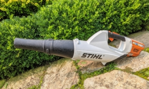 To clean the area after pruning, Phurba lightly blows any cut leaves and debris with STIHL's backpack battery and handheld blower. The backpack battery eliminates the cost of fuel and engine oil and can be used for several hours before needing another charge.