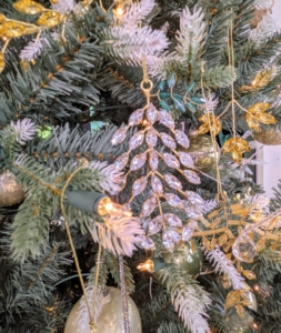 Here is one of my botanical-themed crystal ornaments hanging on the tree.