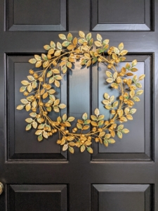 And on my door, this patina iron leaf wreath. It features a captivating sheen, an intricate leaf design, and measures 21 inches across. We had so much fun talking about these holiday decorations. I hope you visit the web site to see more of my new offerings. It may be July now, but the holidays will be here before you know it.