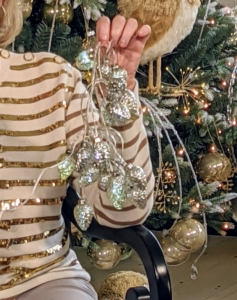 These pinecone ornament light strands come in both silver and gold. Use them around your home all winter long.