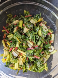 I also prepared some Swiss chard from my garden. Since the stems can be tough, we boiled them until they were also fork-tender, about 10-minutes. Swiss chard is an excellent source of vitamin A and vitamin K and a good source of vitamin C and magnesium. It's also high in dietary fiber.
